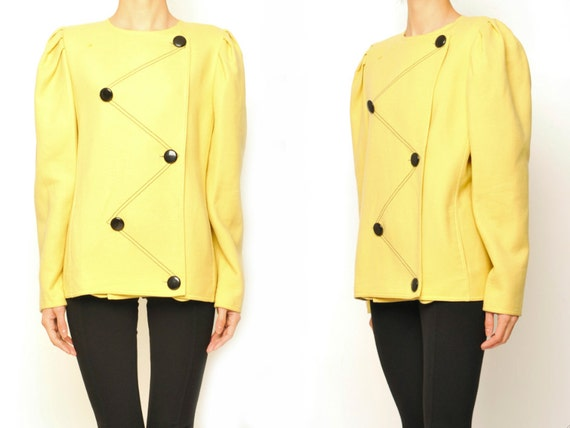 Louis Feraud 1980's Zigzag Buttons No Collar Yellow Wool Jacket