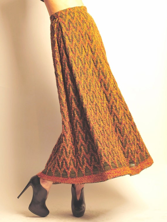 1960's wool knitted long skirt