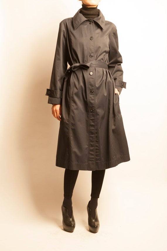 Christian Dior MISS DIOR 1970's navy trench coat