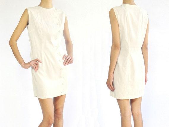 1960's white silk no sleeves simple mini dress