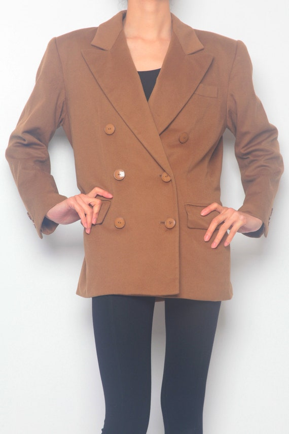 Yves Saint Laurent Brown Shoulder Pad Wool Jacket