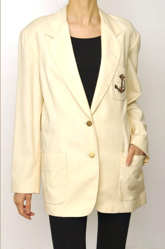 Georges Rech Marine Stlye Emblem White Long Blazer
