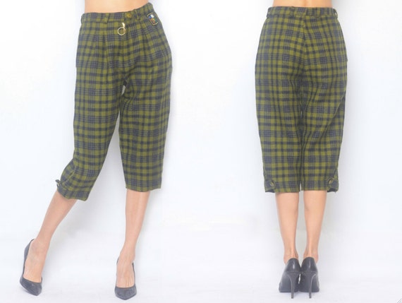 Wool Checked Pattern Emblem Knee-length Pants