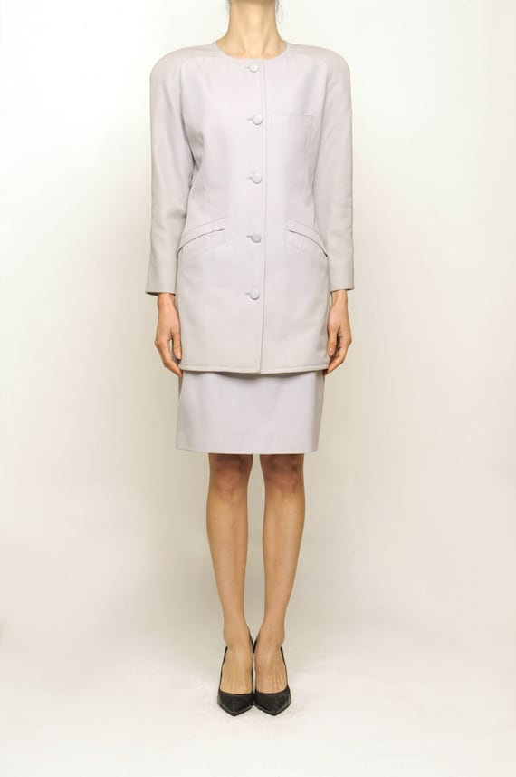 courreges 1970's Off Gray Wool Suit