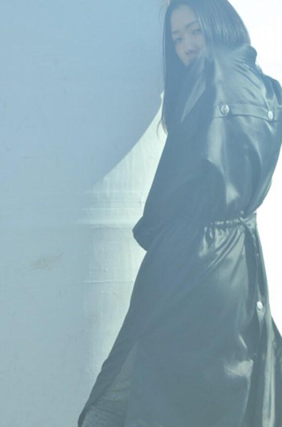 Courreges 1980's black oversized rain coat