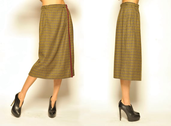 1980's Yves Saint Laurent Checked Pattern Wool Wraped Skirt