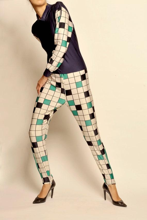 Terinit chess board motif elastane sport body suit