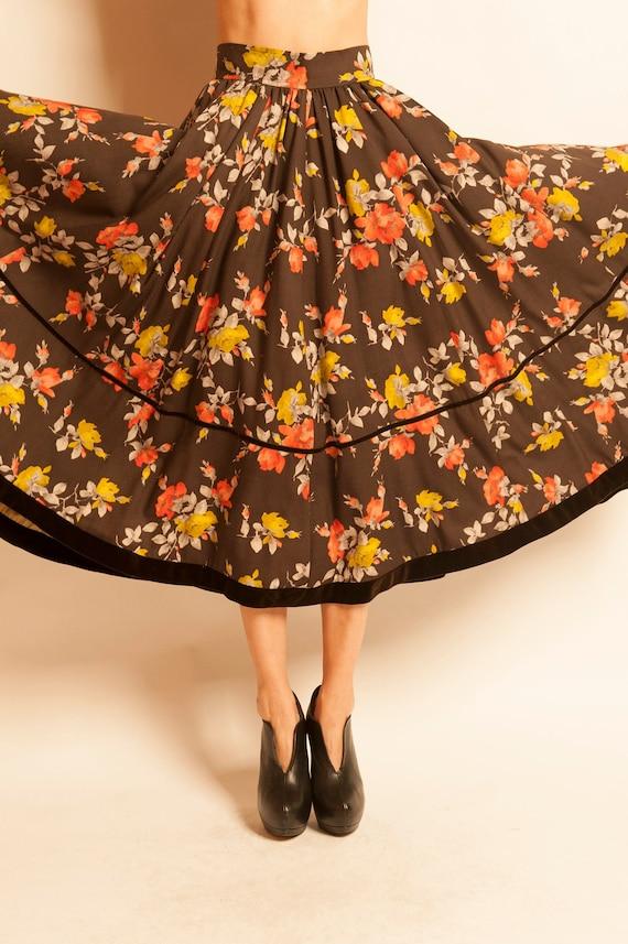 Long skirt Yves Saint Laurent from 1970's flowers