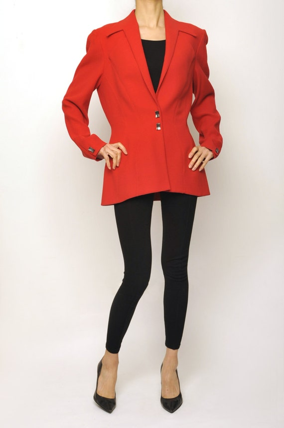 Thierry Mugler 1980's Avant-garde Red Long Jacket
