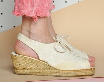 90s BOHO sandals PEEP toe sandals HIPPIE sandals canvas sandals boho sandals espadrilles bohemian sandals / Size 9.5 us / 7 uk / 41 eu