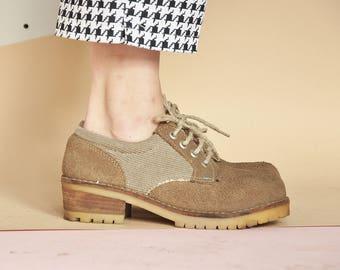 3d20dc0194f4a 90 s derbies en daim chaussures oxford oxford PREPPY pays oxford chaussures  grunge oxford chaussures de toile   taille 7