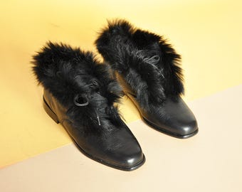 8c30454b79 90s RABBIT FUR booties MINIMAL booties mod boots black leather boots boho  boots hippie boots chukka boots / size 5.5 us / 3 uk / 35.5 eu
