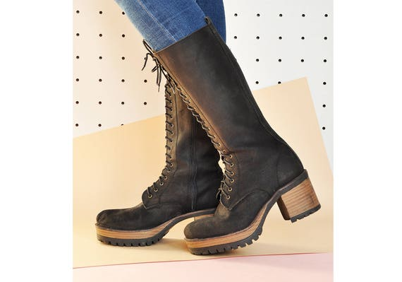 90s RUSTIC leather boots BOHO boots TALL boots boh