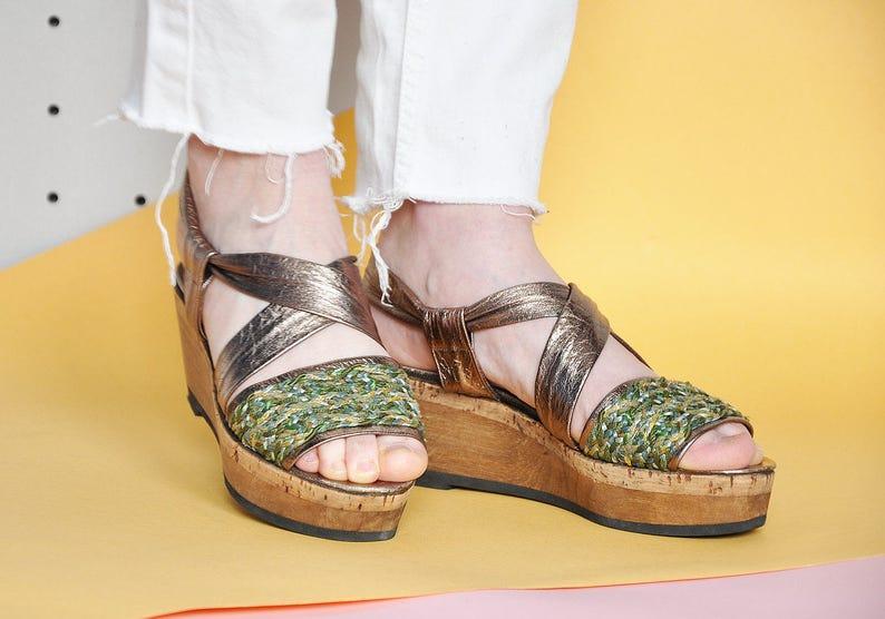 d74f5d90593 70s SANDALS platform sandals WEDGE sandals BOHEMIAN sandals