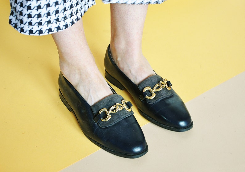 d8e17ba69d0 80s classic loafers LEATHER loafers RETRO loafers gold chain