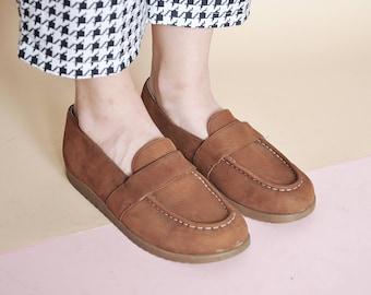 90s loafers PLATFORM loafers MINIMAL loafers penny LOAFERS preppy loafers minimal loafers leather loafers / Size 7 us / 4.5 uk / 37.5 eu