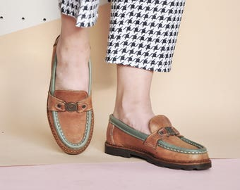 90s PENNY loafers PREPPY loafers LEATHER loafers prep loafers bohemian loafers boho loafers hippie loafers / Size 6 us / 3.5 uk / 36 eu