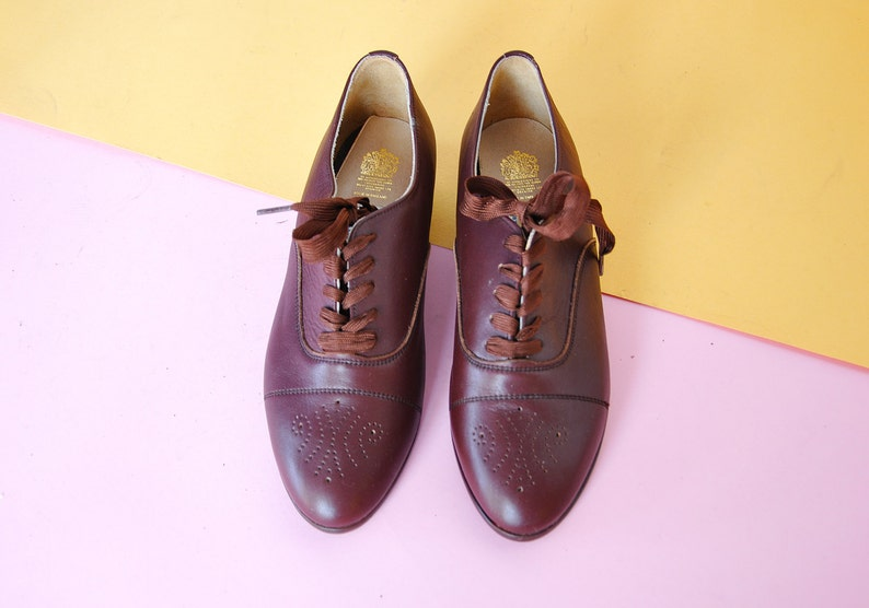 80 s CLASSIC Oxford BROGUE chaussures cuir Oxford anglais Oxford moderne de mod Oxford d'Oxford de le domani Oxford taille US 7 4.5 uk 37,5 eu