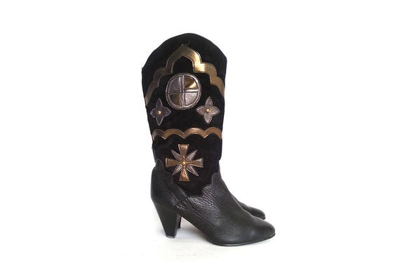 80s BOHEMIAN boots TALL boots GYPSY boots slouchy