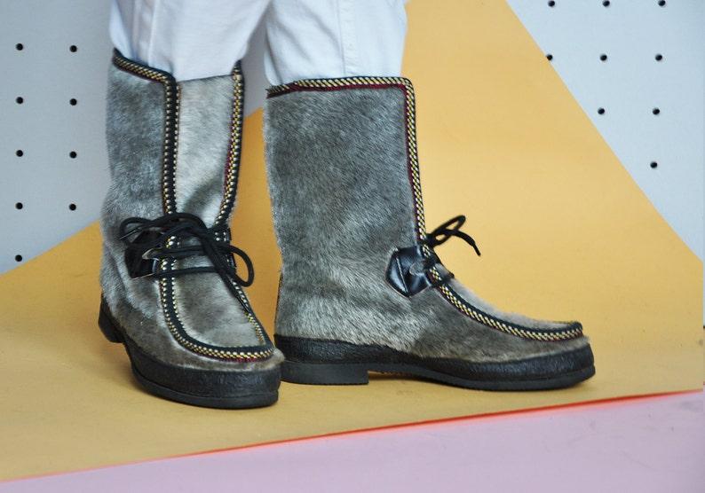 76112eccb95e8 70s ABBA eskimo boots yeti boots VEGAN fur boots with felt lining tall  boots snow boots mod boots ski boots / Size 6.5 us / 4 uk / 37 eu