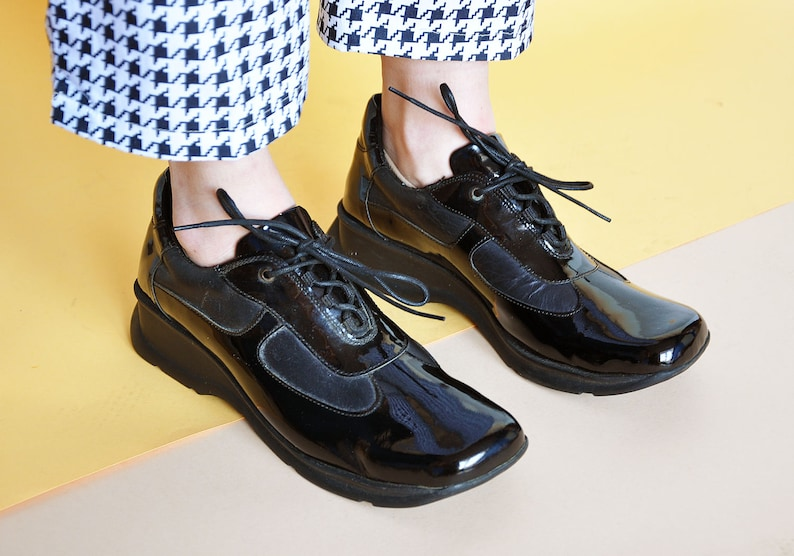 f8ecd6e60792 90s RAVE sneakers PATENT LEATHER sneakers platform sneakers