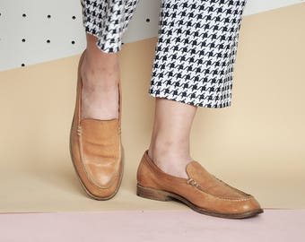 90s BEIGE loafers MINIMAL loafers penny LOAFERS nubuck loafers preppy loafers minimal loafers leather loafers / Size 8 us / 5.5 uk / 38.5 eu