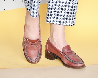 90s LEATHER loafers PREPPY loafers PREP loafers boho loafers bohemian loafers school loafers retro loafers / Size 6 us / 3.5 uk / 36 eu