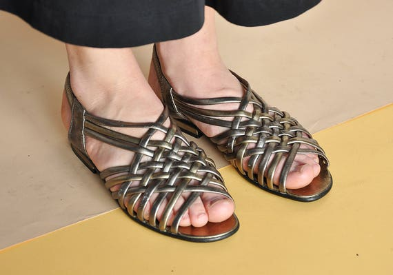 FootEtsy Sandals Strappy Toe Bare Flat 90s Peep cLqA3j54R