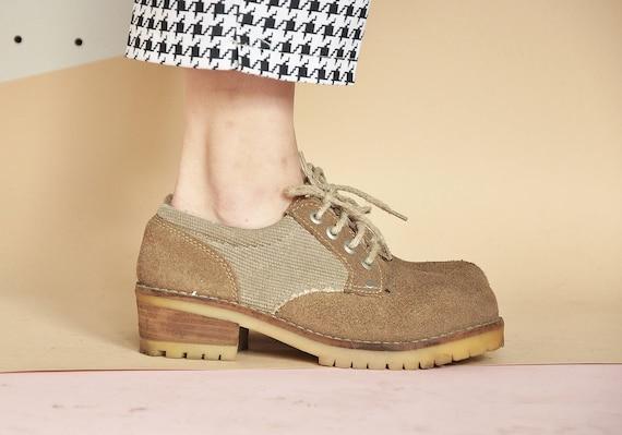 90s SUEDE oxford shoes CANVAS oxford shoes PREPPY