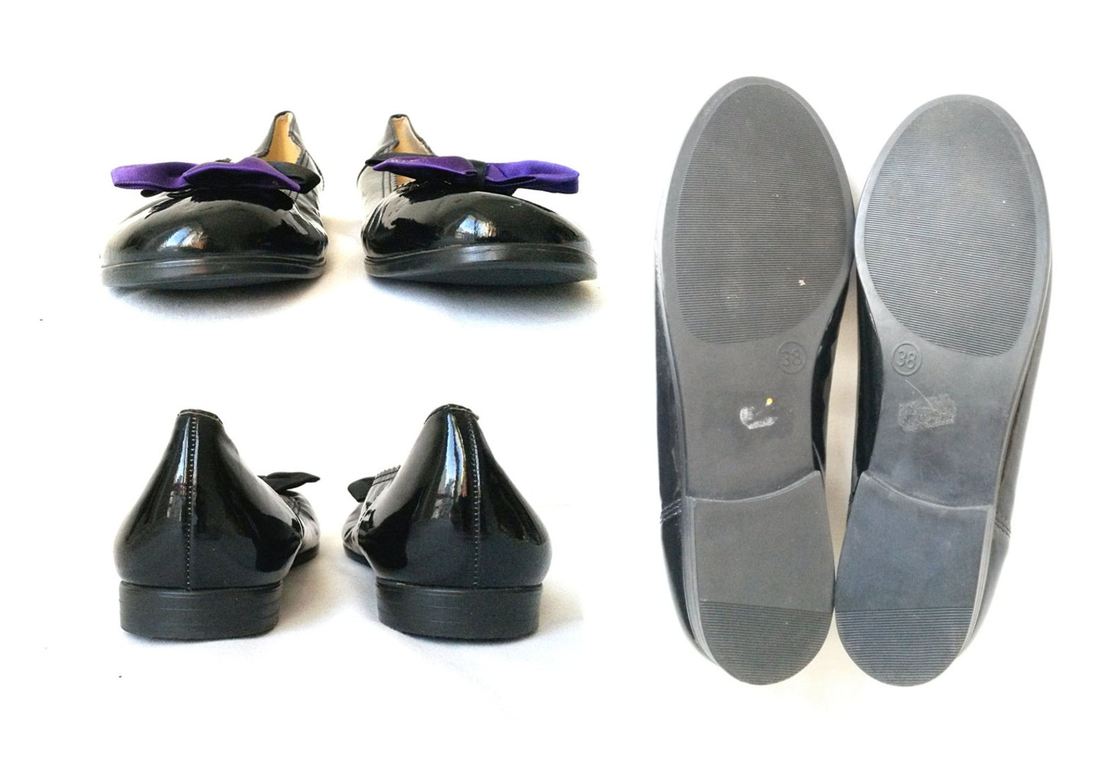 90s kawaii flats cute flats ribbon flats funky flats black purple ballet flats with ribbon mod flats anime / size 7 us / 4.5 uk