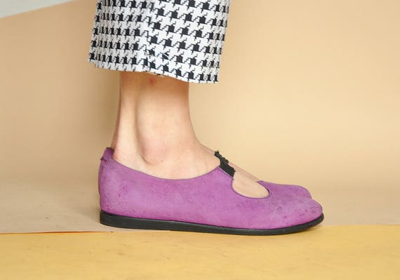 90s CLUB KID mary janes SUEDE mary janes purple mary janes flat mary janes funky mary janes leather mary janes Size  6.5 us  4 uk  37 eu