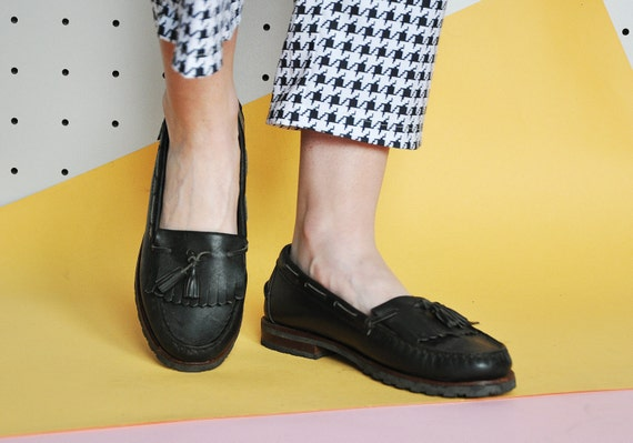 90s PREPPY leather LOAFERS minimal loafers mod loa