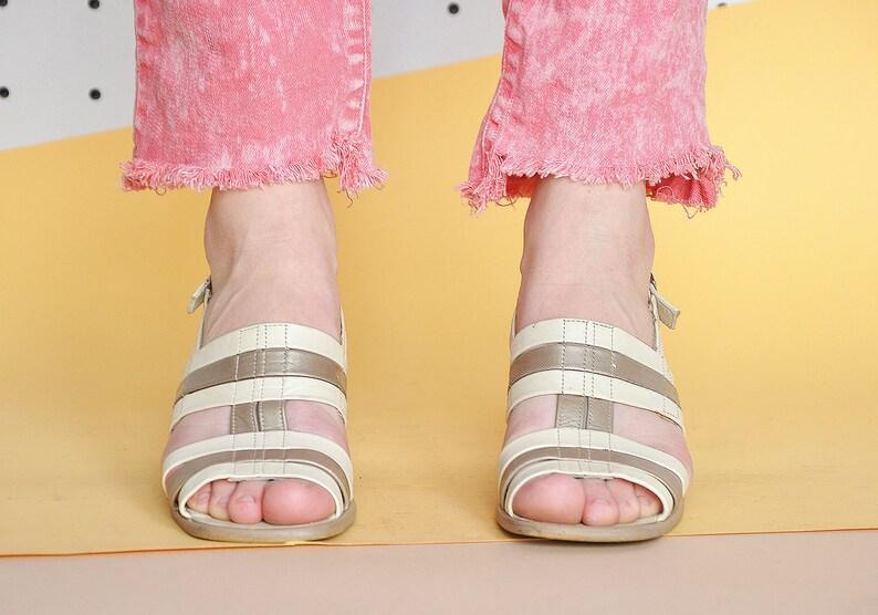 90s BLOCK heel sandals WEDDING sandals STRAPPY sandals bronze sandals boho sandals minimal sandals white sandals Size 6.5 us  4 uk  37 eu