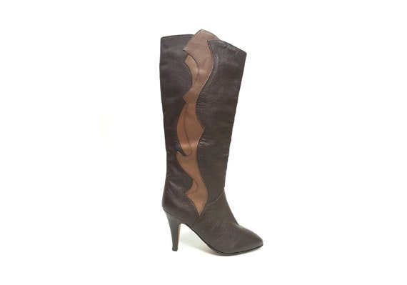 80s TALL leather boots ART DECO boots slouchy boot