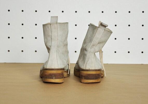 90 s BOHO bottes mi mollet bottes hippie bottes chunky boho bottes bottes sud ouest des bottes de combat taille 6,5 US 4 uk 37 eu