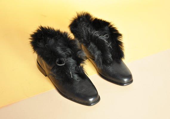 90s RABBIT FUR booties MINIMAL booties mod boots black leather boots boho boots hippie boots chukka boots size 5.5 us 3 uk 35.5 eu