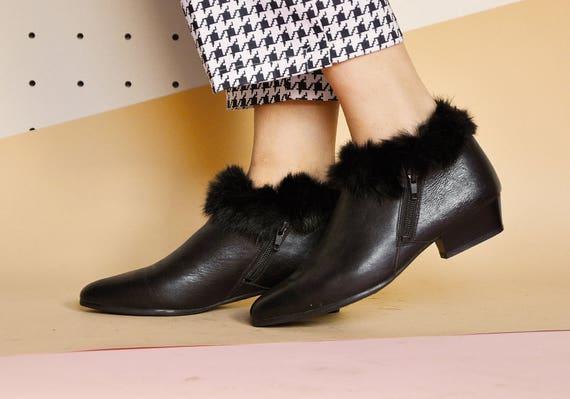 80s konijn vacht laarzen leren laars puntige teen laarzen enkel laarzen laarzen minimale laarzen mod laarzen wees Size 6.5 VS 4 uk 37 eu