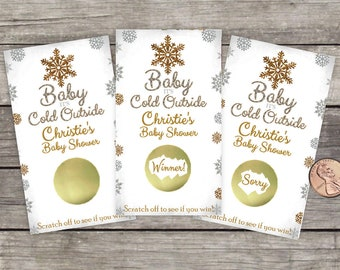 Baby Shower Scratch Off, Shower Game, Baby it's cold outside, Winter Wonderland, party game, lottery, Silver and Gold, Snowflakes