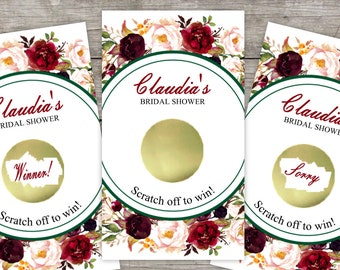 Bridal Shower Scratch Off Game Cards, 10ct, Fall Floral Wreath, Shower Favor, lottery scratch off, bridal shower game, Rustic Flowers, Roses