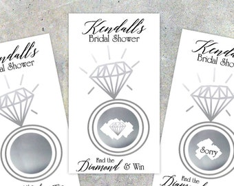 "Bridal Shower Scratch Off Game Cards, 10ct, ""Metallic Foil"" print effect, Diamond Ring, Shower Favor, bridal shower game, gold, silver"