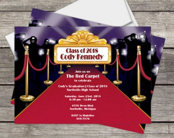 Graduation Party Invitation Red Carpet Hollywood, Class of 2018 graduation, PERSONALIZED, Print at home or PRINTED, 2018 graduate, hollywood