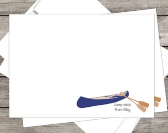 Summer Camp Stationery Canoe  (15ct) 5x7 Notecards & Envelopes, PERSONALIZED, kids away camp, camp notecards, summer camp, camp stationery
