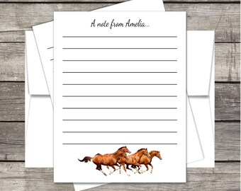 New! Horses Camp Stationery (20ct) Flat A2 Notecards & Envelopes Customized for you