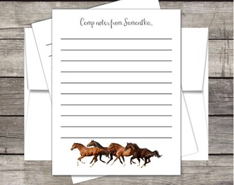 Horses Summer Camp Stationery (20ct) Notecards & Envelopes PERSONALIZED, Kids Summer Camp, Camp notecards, Kids Horse Camp, Horse Stationery