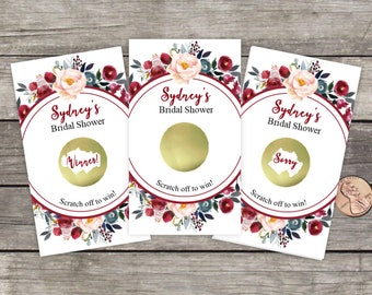 Bridal Shower Scratch Off Game Cards, 10ct, Fall Floral Wreath, Shower Favor, scratch offs, bridal shower game, Rustic Flowers, Roses indigo