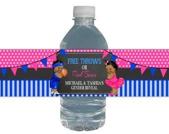 Free Throws or Pink Bows /Gender Reveal / Water Bottle Labels / Basketball / Ballerina / Gender Reveal / Royal Blue Hot Pink / Baby Shower
