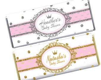 Princess Baby Shower, Hershey's Candy bar Wrapper & Foil, Pink, Gold Glitter, Silver Glitter, Crown, Baby shower Favor, Girl Baby Shower
