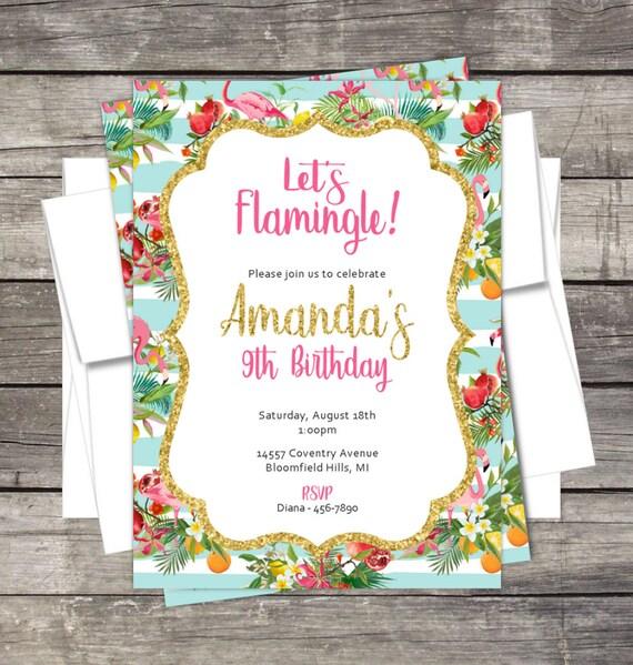 Flamingo Birthday Party Invitation Flamingos Pool Kids