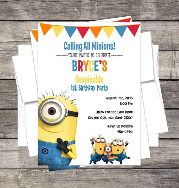 Minions Birthday Party Invitation Customized Despicable Me By Pink
