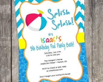 Birthday Party Invitation/ Beach Ball / pool party / kids birthday / beach party / kids invitations / summer party / Digital printable